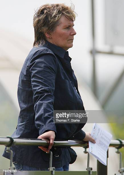 Former head coach of the German National Women's team and now German Football Association Official Tina TheuneMeyer watches the players during the...