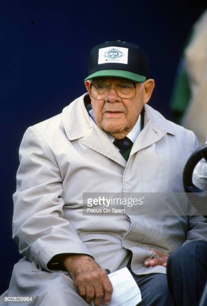 Former head coach of the New York Jets Weeb Ewbank looks on priro to the start of an NFL football game circa 1984 at Giants Stadium in East...