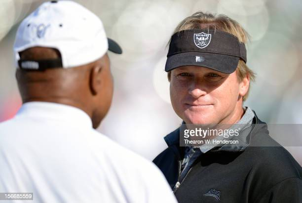 Former head coach of the Oakland Raiders and now ESPN Monday Night Football Analyst Jon Gruden looks on during pregame warm ups before an NFL...