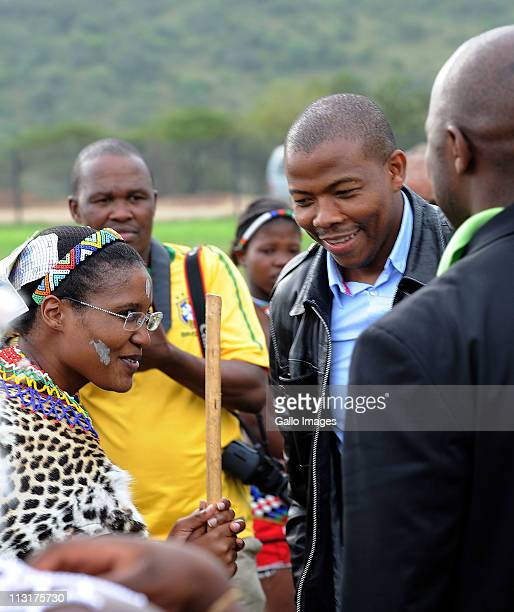 Former head of Lembede Investment Holdings Lonwabo Sambudla and his bridetobe President Jacob Zuma's daughter Duduzile Zuma attend her uMemulo...