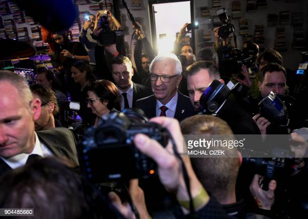 Former head of the Czech Academy of Sciences and candidate for the presidential election Jiri Drahos arrives at his election headquarter after the...