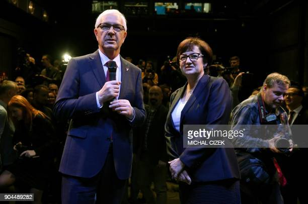 Former head of the Czech Academy of Sciences and candidate for the presidential election Jiri Drahos and his wife Eva pose for photographers at his...