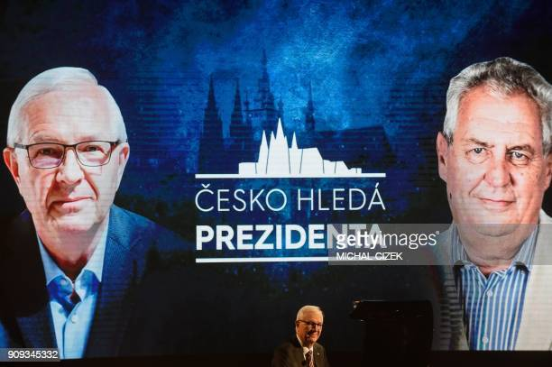 Former head of the Czech Academy of Sciences and candidate for the presidential election Jiri Drahos is seen during his presidential debate with...