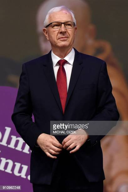 Former head of the Czech Academy of Sciences and presidential candidate Jiri Drahos stands on stage during a meeting with supporters at his campaign...