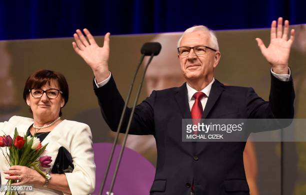 Former head of the Czech Academy of Sciences and presidential candidate Jiri Drahos and his wife Eva greet supporters during a meeting at his...
