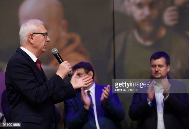 Former head of the Czech Academy of Sciences and presidential candidate Jiri Drahos speaks on stage during a meeting with supporters at his campaign...