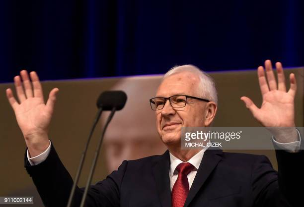 Former head of the Czech Academy of Sciences and presidential candidate Jiri Drahos gestures on stage during a meeting with supporters at his...