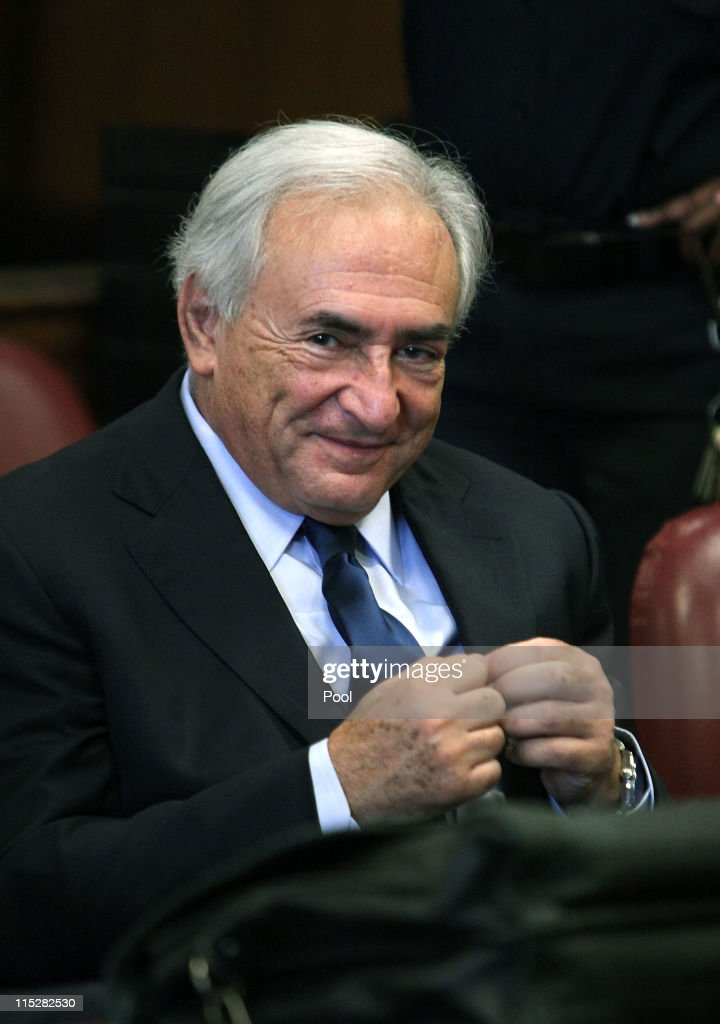 Former head of the International Monetary Fund (IMF) Dominique Strauss-Kahn appears at an arraignment trial for sexual assault in Manhattan Criminal Court on June 6, 2011 in New York City. Strauss-Kahn who has been on house arrest plead not guilty on sexual assault charges after allegedly attacking a maid in a New York hotel room.