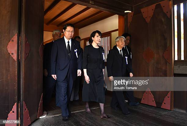 Former health minister Hidehisa Otsuji chairwoman of the LDP Policy Research Council Sanae Takaichi and other Diet members visit Yasukuni Shrine on...