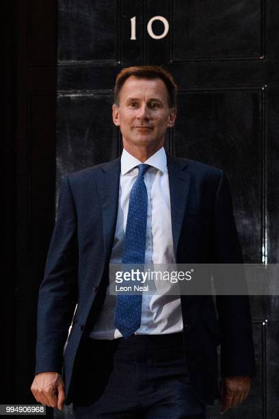 Former Health Secretary Jeremy Hunt leaves number 10 after accepting the position of Foreign Secretary following the resignation of Boris Johnson on...