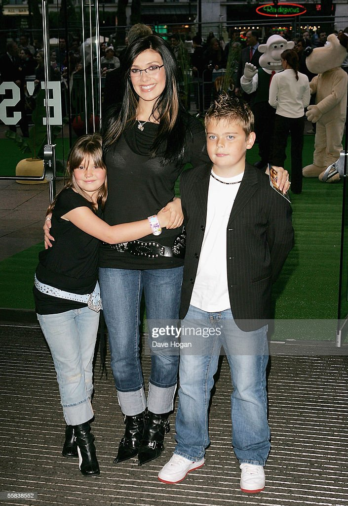 Former Hear'Say singer Kym Marsh (C) and her children Emily and David arrive at the UK Charity premiere of animated film 'Wallace & Gromit: The Curse Of The Were-Rabbit' at the Odeon West End on October 2, 2005 in London, England.