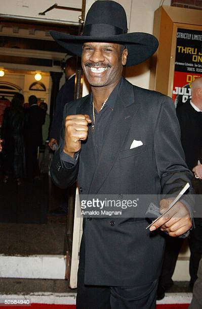 Former heavy weight boxer Michael Spinks arrives at the Belasco Theater for the opening night of Julius Caesar starring Denzel Washington as Brutus...