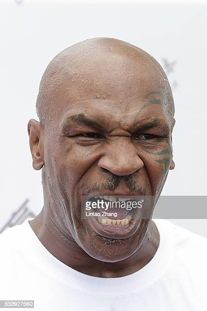 Former Heavy Weight Champion Boxer Mike Tyson attends the Great Wall Weigh-in of IBF World Boxing Championship Bout at Mutianyu on May 24, 2016 in...