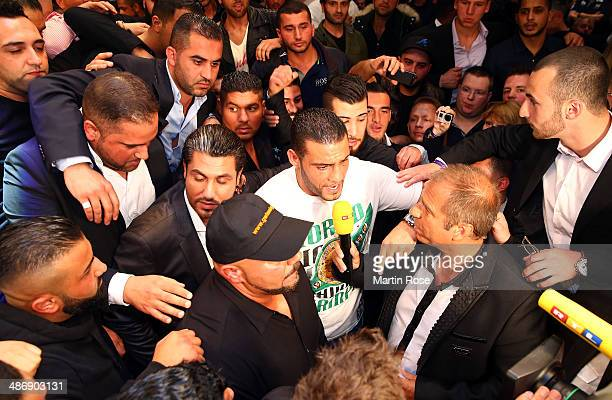 Former heavy weight fighter Manuel Charr screams to Wladimri Klitschko after the WBO WBA IBF and IBO heavy weight title fight between Wladimir...