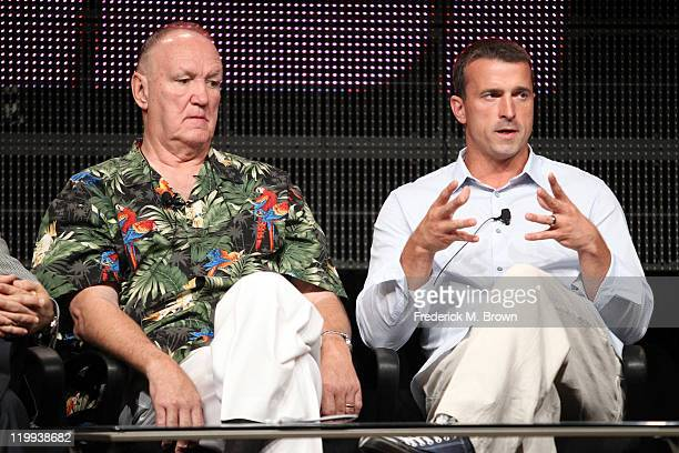 Former heavyweight boxer Chuck Wepner and former NBA player Chris Herren speak during the ESPN portion of the 2011 Summer TCA Tour at the Beverly...