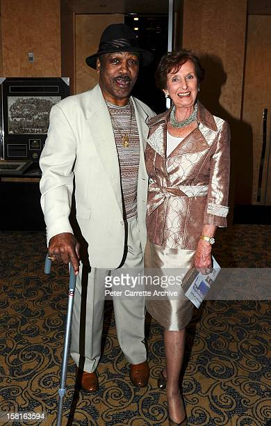 Former heavyweight boxer Joe Frazier and June DallyWatkins at a tribute and testimonial dinner to celebrate the 60th birthday of Joe Bugner at the...