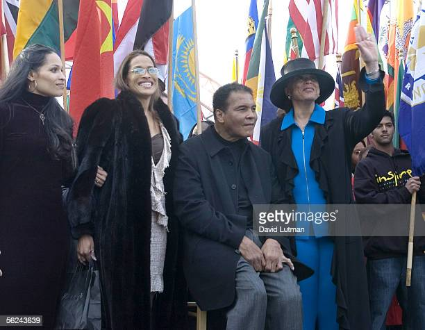 Former Heavyweight Boxing Champion Muhammad Ali his wife Lonnie and his daughters Jamillah and Rasheeda attend the dedication of the Muhammad Ali...