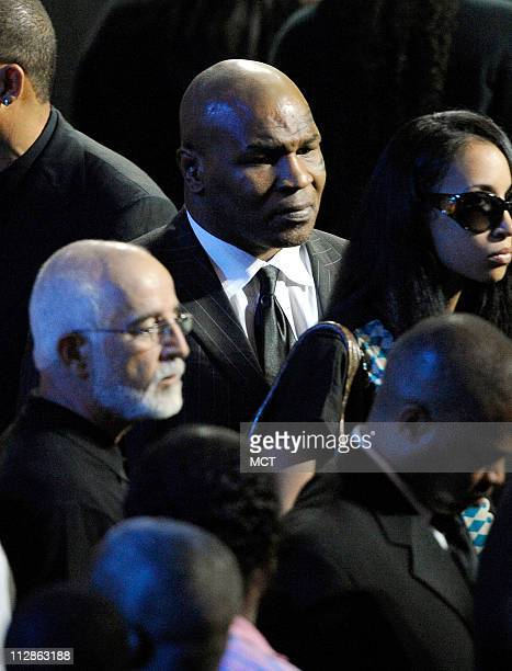 Former heavyweight champion boxer Mike Tyson attends the Michael Jackson public memorial service at the Staples Center in Los Angeles California...