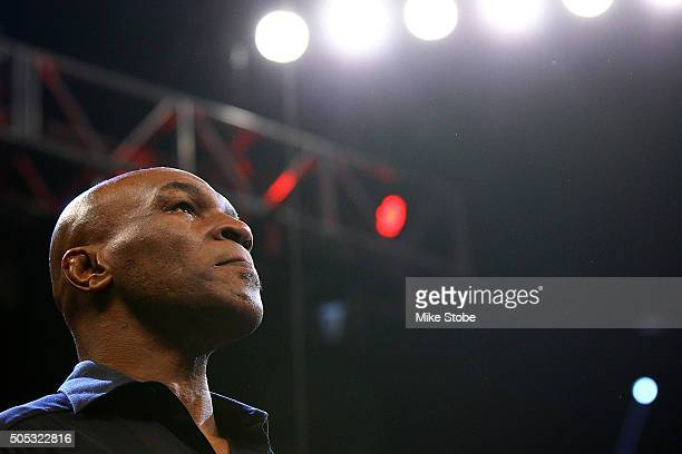 Former Heavyweight Champion Mike Tyson attends the bout between Deontay Wilder and Artur Szpilka at Barclays Center on January 16 2016 in Brooklyn...