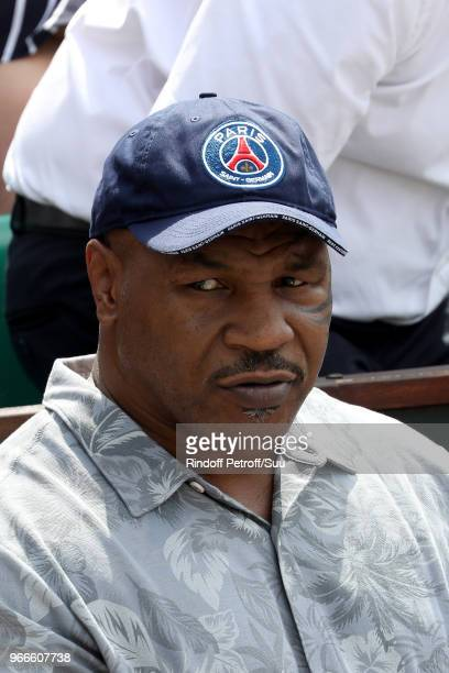 Former heavyweight chmpion Mike Tyson attends the 2018 French Open Day Eight at Roland Garros on June 3 2018 in Paris France