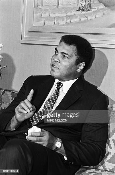 Former heavyweight world boxing champion Muhammad Ali speaks on October 05 1986 during a press conference at the Marriott hotel in Cairo Egypt to...