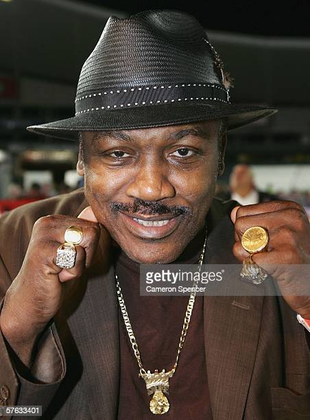Former Heavyweight world champion Joe Frazier poses for a photo at the Anthony Mundine v Danny Green Super Middleweight fight at Aussie Stadium May...
