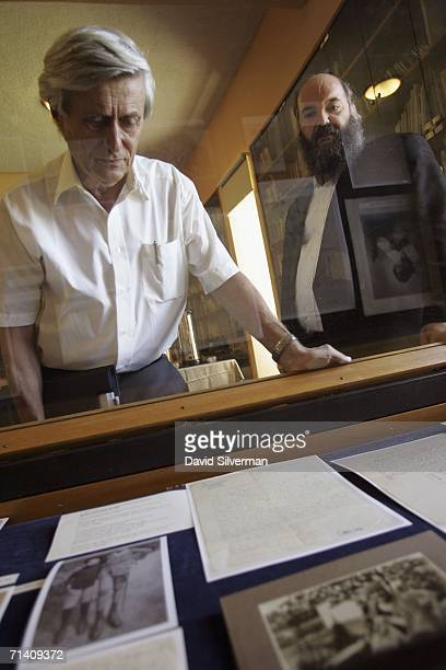 Former Hebrew University president and physicist Prof Hanoch Gutfreund looks down at newlyrevealed letters and photos from the Albert Einstein...