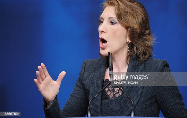 Former HewlettPackard chief executive officer and chairman Carly Fiorina speaks during an address to the 39th Conservative Political Action Committee...