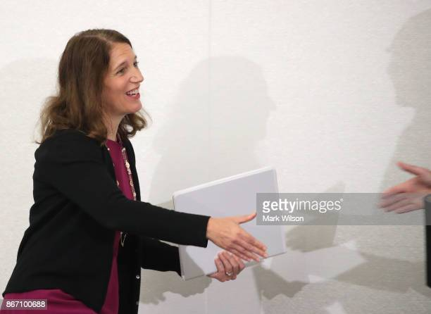 Former HHS Secretary Sylvia Mathews Burwell president of American University is introduced to speak on health care reform during a conference at...