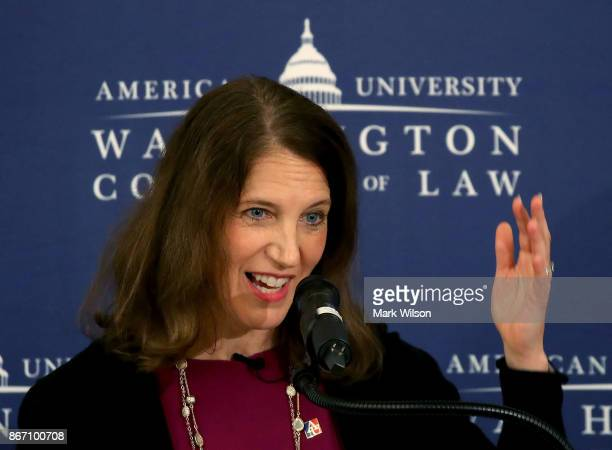 Former HHS Secretary Sylvia Mathews Burwell president of American University delivers remarks on health care reform during a conference at American...