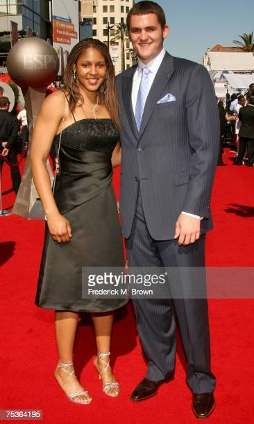 Former high school basketball standouts Maya Moore and Kevin Love arrive at the 2007 ESPY Awards at the Kodak Theatre on July 11, 2007 in Hollywood,...