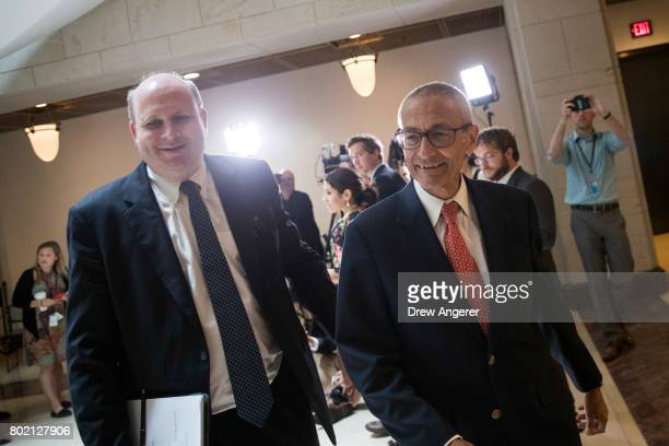 Former Hillary Clinton Campaign Chairman John Podesta exits after meeting with the House Intelligence Committee on Capitol Hill June 27 2017 in...