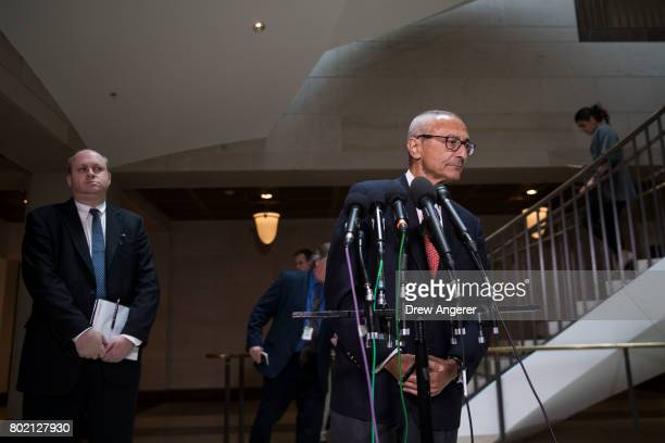 Former Hillary Clinton Campaign Chairman John Podesta speaks to reporters after meeting with the House Intelligence Committee on Capitol Hill June 27...