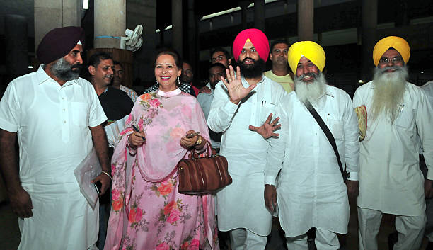 Former hockey captainturnedpolitician and Akali Dal legislator Pargat Singh Navjot Kaur Sidhu Bains Brothers and other leaders at Monsoon Session of..