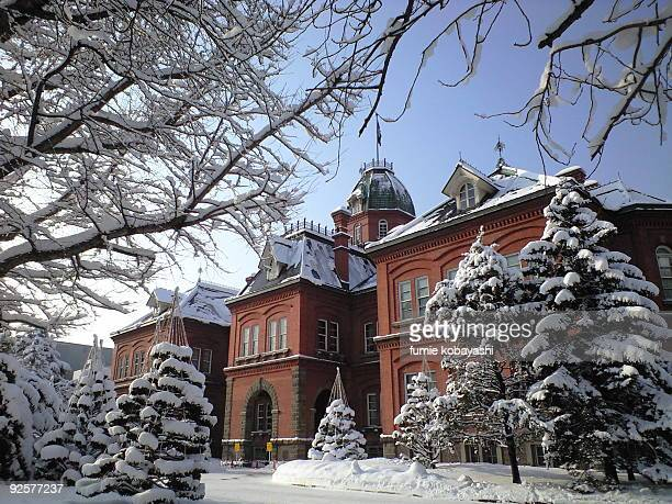 former hokkaido government office building in wint - sapporo stock pictures, royalty-free photos & images