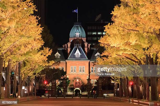 Former Hokkaido Government Office Building with ginkgo trees