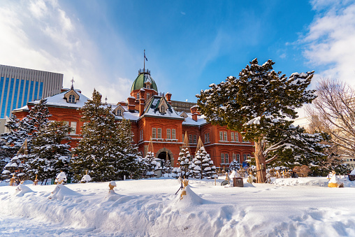 Former Hokkaido Government offices during winter in Sapporo, Japan . - gettyimageskorea
