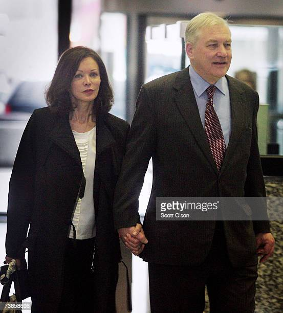 Former Hollinger International CEO Conrad Black and his wife Barbara Amiel leave court March 21 2007 in Chicago Illinois The trial for Conrad Black...