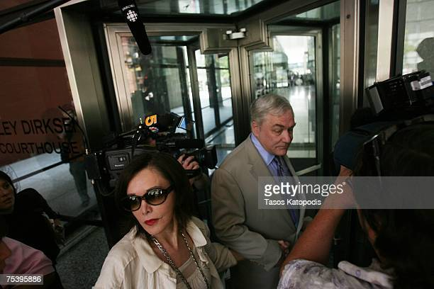 CHICAGO JULY 09 Former Hollinger International CEO Conrad Black and his wife Barbara Amiel Black arrive at the Dirksen Federal courthouse July 13...
