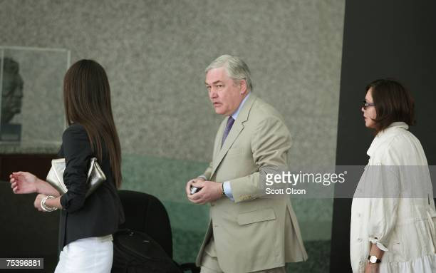 Former Hollinger International CEO Conrad Black arrives at court with his daughter Alana and wife Barbara Ameil Black July 13 2007 in Chicago...