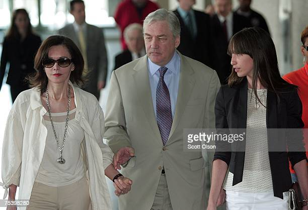 Former Hollinger International CEO Conrad Black leaves court with his daughter Alana and wife Barbara Amiel Black July 13 2007 in Chicago Illinois...