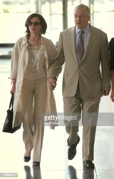 Former Hollinger International CEO Conrad Black leaves court with his wife Barbara Amiel July 13 2007 in Chicago Illinois Black was found guilty on 3...