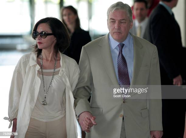 Former Hollinger International CEO Conrad Black leaves court with his wife Barbara Amiel Black July 13 2007 in Chicago Illinois Black was found...
