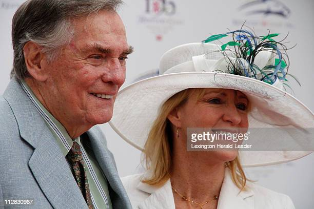 Former Hollywood Squares gameshow host Peter Marshall and his wife Lori posed on the red carpet at the 136th running of the Kentucky Derby at...