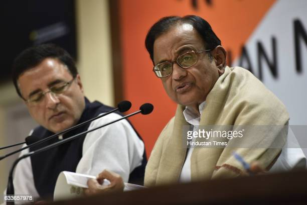 Former Home Minister and Congress leader P Chidambaram and Spokesperson Randeep Surjewala addressing the press conference at AICC on February 2 2017...