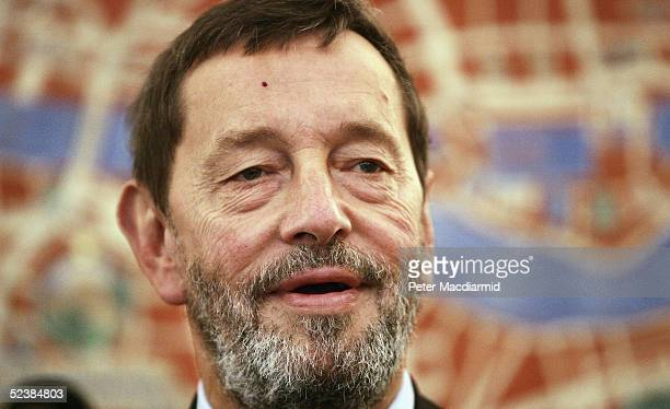 Former Home secretary David Blunkett addresses the Institute for Public Policy Research on March 14, 2005 in London. Mr Blunkett who reisgned as Home...