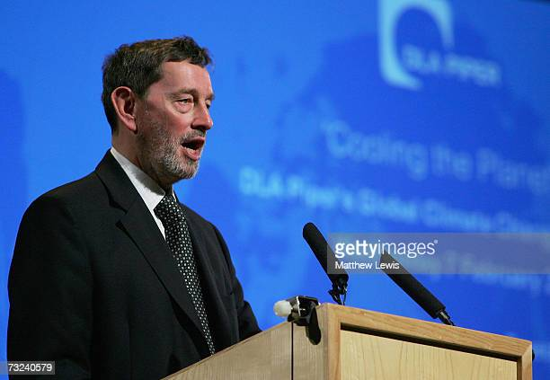 Former Home Secretary David Blunkett makes a keynote speech at a press conference, addressing the major climate change challenges that threaten...