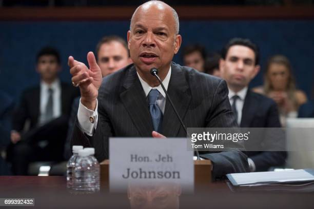 Former Homeland Security Secretary Jeh Johnson testifies before a House Intelligence Committee hearing in the Capitol Visitor Center on Russian...