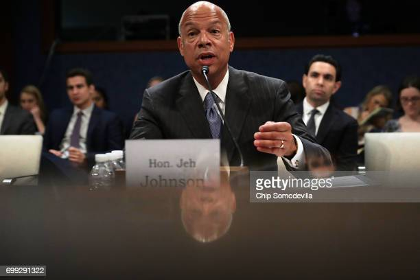 Former Homeland Security Secretary Jeh Johnson testifies before the House Intelligence Committee in an open hearing in the US Capitol Visitors Center...