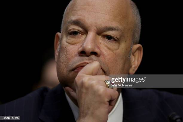 Former Homeland Security Secretary Jeh Johnson testifies before the Senate Intelligence Committee March 21 2018 in Washington DC The committee heard...